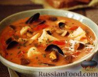 Фото к рецепту: Рыбный суп с мидиями и грибами