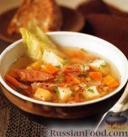 Фото к рецепту: Суп с перловкой, чечевицей, овощами и свининой