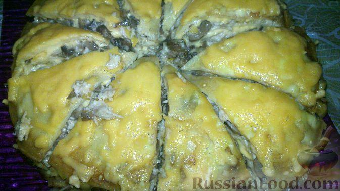 Рецепт Блинчатый пирог с шампиньонами