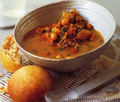 Рецепт Марокканский суп из нута и чечевицы с медовыми булочками