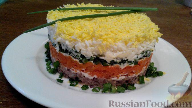 Рецепт Салат «мимоза» слоеный