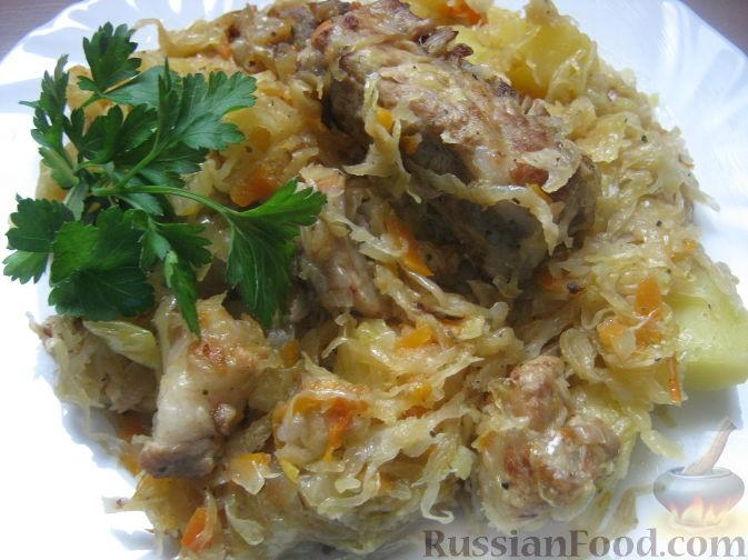 Рецепт Тушеная капуста с мясом и картофелем
