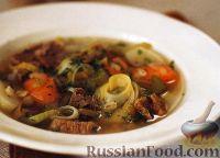 Фото к рецепту: Гороховый суп с овощами, перловкой и мясом
