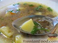Фото к рецепту: Постный грибной суп с гречкой