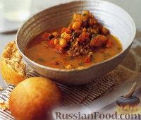 Фото к рецепту: Марокканский суп из нута и чечевицы с медовыми булочками
