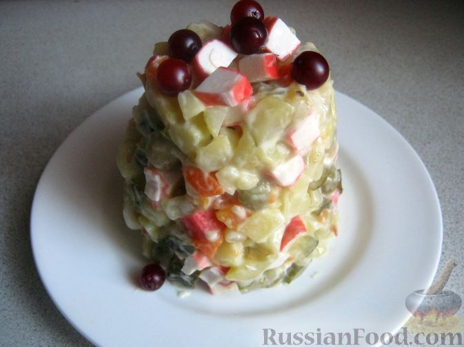 """Рецепт """"Универсальный"""" салат с крабовыми палочками"""