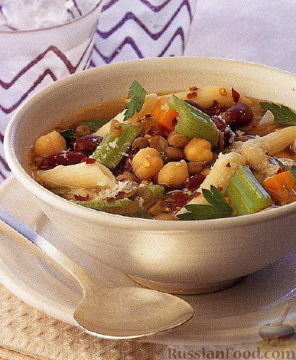 Рецепт Овощной суп с макаронами и бобами
