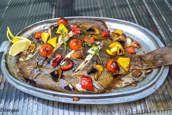 Рецепт Камбала, запеченная с овощами
