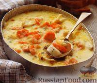 Фото к рецепту: Рыба с креветками, в сливочном соусе