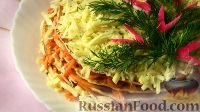 Фото к рецепту: Закусочный торт из курицы с морковью