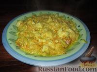 Фото к рецепту: Куриное филе с тыквой и пореем