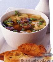 Фото к рецепту: Суп с куриной печенью и макаронами