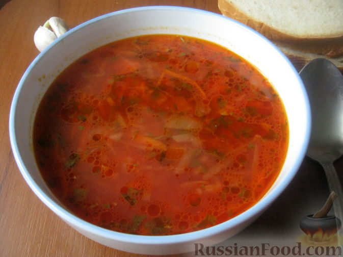 Рецепт Украинский красный борщ с фасолью