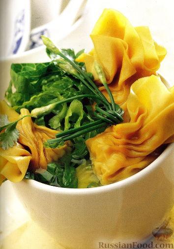 Рецепт Суп из морепродуктов с вонтонами