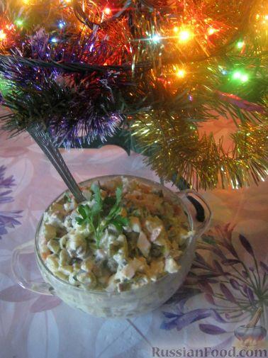 """Рецепт Салат """"Оливье"""" с языком и луком-пореем"""