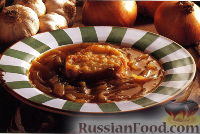 Фото к рецепту: Луковый суп по-французски с коньяком