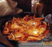 Фото к рецепту: Овощное соте с ветчиной и яйцами