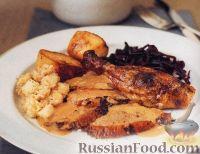 Фото к рецепту: Фаршированная утка со сливочным соусом