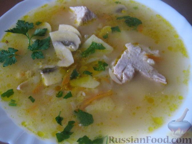 суп с отварными замороженными грибами рецепт