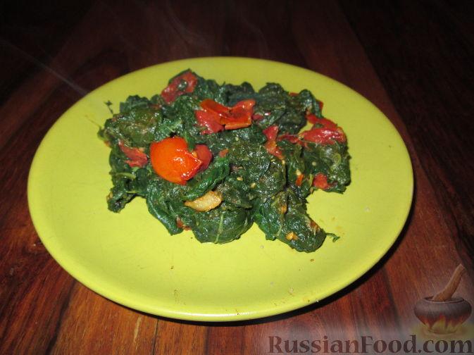 Рецепт Гарнир из шпината и помидоров