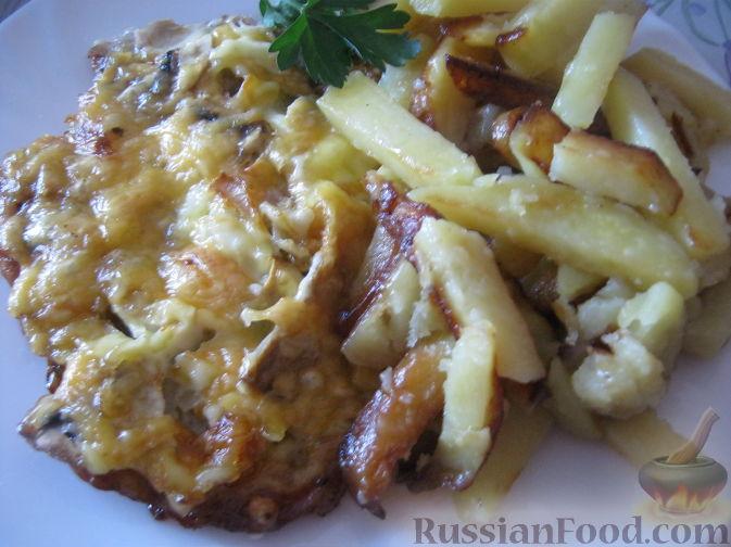 Рецепт Отбивные с грибами и сыром