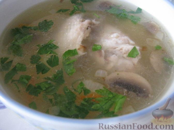 Рецепт Грибной суп с куриными крылышками