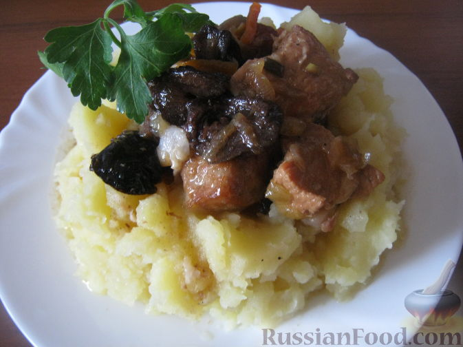Рецепт Мясо тушеное с черносливом