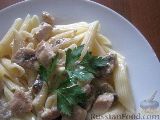 Рецепт Паста с куриной грудкой и шампиньонами