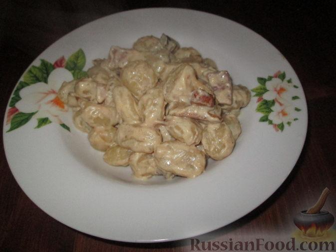 Рецепт Паста с белыми грибами, сырокопченым окороком и сливками