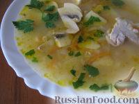 Фото к рецепту: Суп грибной со свининой