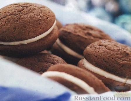 Рецепт Шоколадно-кофейное печенье со сливочной начинкой