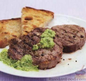 Рецепт Телятина с перцем под соусом песто с петрушкой и миндалем