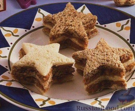 """Рецепт Бутерброды """"Звездочки"""" с яблоками, орехами и медом"""