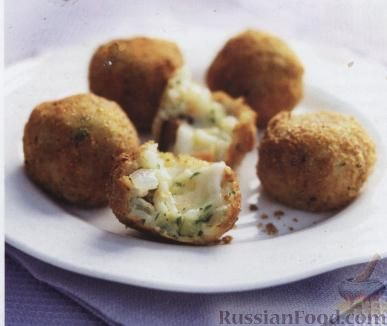 Рецепт Аранчини (зразы из риса) с баклажанами и сыром
