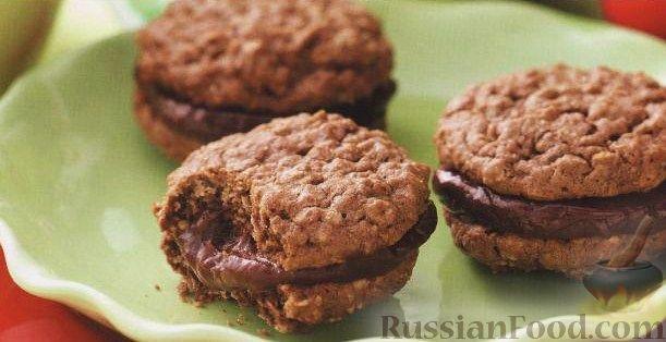 Рецепт Овсяное печенье с шоколадной начинкой
