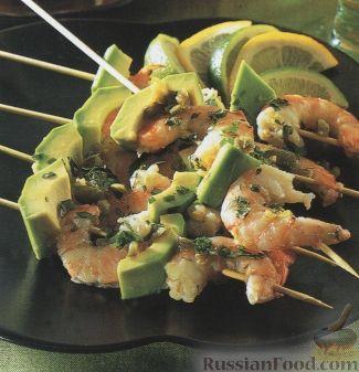 Рецепт Мексиканские шашлыки из креветок и авокадо
