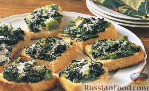 Рецепт Гренки с брокколи (брускетты)