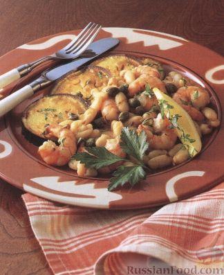 Рецепт Фасоль с креветками и чесноком