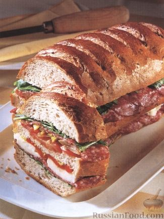 Рецепт Клубный сэндвич в итальянской булке