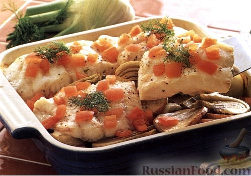 Рецепт Печеная треска с фенхелем и картофелем