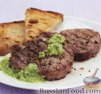 Фото к рецепту: Телятина с перцем под соусом песто с петрушкой и миндалем