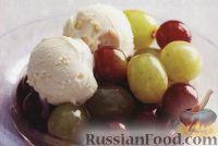 Фото к рецепту: Виноград с портвейном и ванильным мороженым