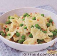 Фото к рецепту: Паста фарфалле (макароны-бантики) с горошком и сыром