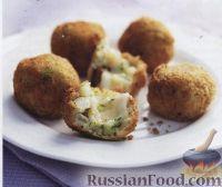 Фото к рецепту: Аранчини (зразы из риса) с баклажанами и сыром