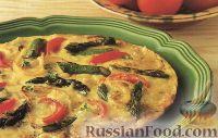 Фото к рецепту: Сырная фриттата со спаржей и  помидорами