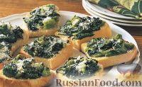 Фото к рецепту: Гренки с брокколи (брускетты)
