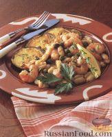 Фото к рецепту: Фасоль с креветками и чесноком