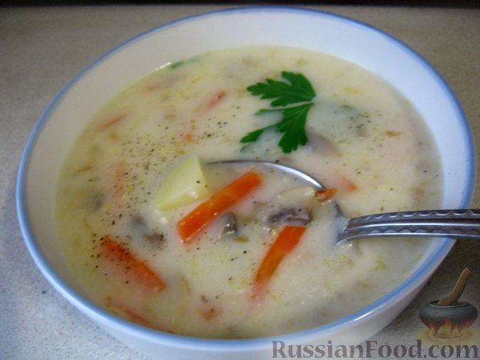 Рецепт Суп с рисом, шампиньонами и плавленым сыром