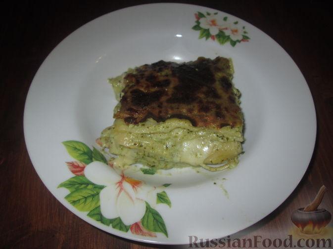Рецепт Лазанья с соусом песто и креветками