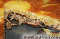 Фото к рецепту: Заливной пирог с картофелем и грибами